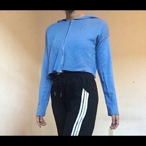 Garage blue cropped hoodie